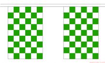 GREEN & WHITE CHECKERED BUNTING - 9 METRES 30 FLAGS